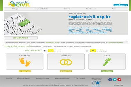 RegistroCivil.Org - Pedido de Certidão