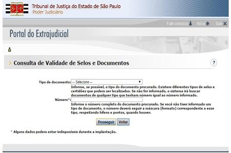 Portal do Extrajudicial - Consulta de Validade de Selos e Documentos